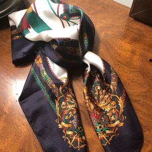Echo 100% silk white/red/navy patterned scarf